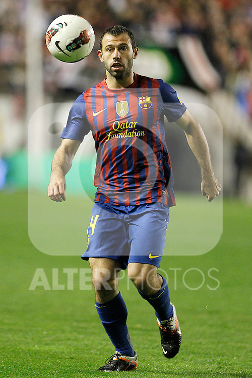 FC Barcelona's Javier Mascherano during La Liga match.April 29,2012. (ALTERPHOTOS/Acero)