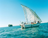 MADAGASCAR, people traveling on sailboat across the Mozambique Channel, Anjajavy