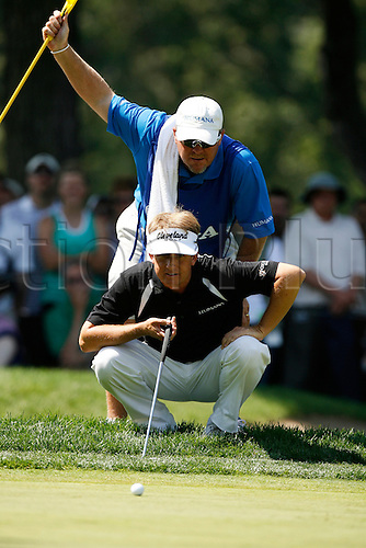 14 August 2009:  David Toms and caddie during the second round of the 91st PGA Championship at Hazeltine National Golf Club in Chaska, Minnesota. (Photo:Charles Baus/Actionplus)