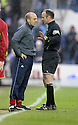 08/03/2008    Copyright Pic: James Stewart.File Name : sct_jspa24_qots_v_dundee.DUNDEE BOSS ALEX RAE IS SPOKEN TO BY REF MIKE MCCURRY....James Stewart Photo Agency 19 Carronlea Drive, Falkirk. FK2 8DN      Vat Reg No. 607 6932 25.Studio      : +44 (0)1324 611191 .Mobile      : +44 (0)7721 416997.E-mail  :  jim@jspa.co.uk.If you require further information then contact Jim Stewart on any of the numbers above........