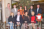 CHRISTMAS TIME: The staff of Tralee post office enjoying a great time at their Christmas party at the Brandon hotel, Tralee on Saturday seated l-r: Martina Leen, Larlaith Ó Siochrú, Joan Lowe and Anne Lucid-Daly. Back l-r: Denis Sugrue, Billy O'Sullivan, Sinead Reidy, Siobhan Foley, Christy Counihan and Tom Sears..