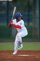 AZL Dodgers Lasorda Yunior Garcia (6) at bat during an Arizona League game against the AZL Athletics Green at Camelback Ranch on June 19, 2019 in Glendale, Arizona. AZL Dodgers Lasorda defeated AZL Athletics Green 9-5. (Zachary Lucy/Four Seam Images)