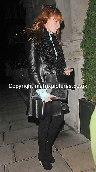 NON EXCLUSIVE PICTURE: PALACE LEE / MATRIXPICTURES.CO.UK<br /> PLEASE CREDIT ALL USES<br /> <br /> WORLD RIGHTS<br /> <br /> Florence Welch of English indie rock band Florence and the Machine is pictured as she arrives at the London Edition Hotel, for Alexa Chung's birthday party in London. <br /> <br /> NOVEMBER 9th 2013<br /> <br /> REF: LTN 137276