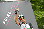 Italian National Champion Fabio Aru (ITA) UAE Team Emirates at sign on before the start of Stage 17 of the 2018 Giro d'Italia, The Franciacorta Stage running 155km from Riva del Garda to Iseo, Italy. 23rd May 2018.<br /> Picture: LaPresse/Fabio Ferrari | Cyclefile<br /> <br /> <br /> All photos usage must carry mandatory copyright credit (&copy; Cyclefile | LaPresse/Fabio Ferrari)