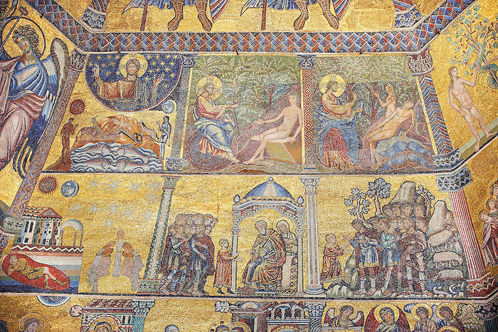 The Medieval mosaics of the ceiling of The Baptistry of Florence Duomo ( Battistero di San Giovanni ) started in 1225 by Venetian craftsmen in a Byzantine style and completed in the 14th century. Florence Italy