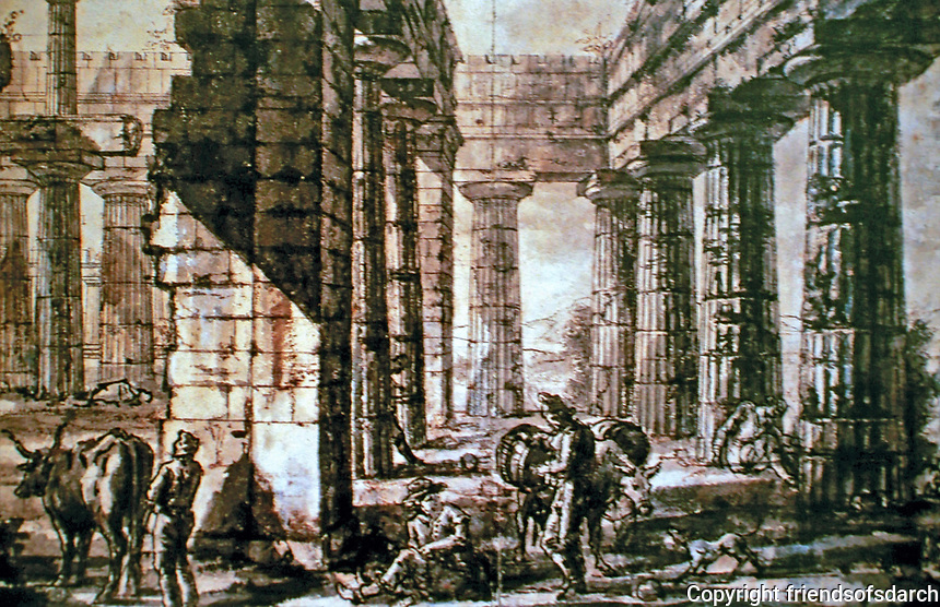 Giovanni Battista Piranesi, Paestum, Italy: Interior of the Basilica, from the West, 1777, pencil, brown and grey washes, pen and ink.