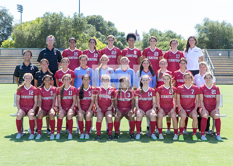 Stanford, CA - August 11, 2015.  Stanford Women's Soccer head shots and team shots.