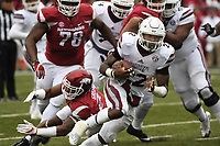 NWA Democrat-Gazette/J.T. WAMPLER Mississippi State's Aeris Williams breaks away from there Arkansas defense Saturday Nov. 18, 2017 at Donald W. Reynolds Razorback Stadium in Fayetteville. Arkansas lost 28-21.