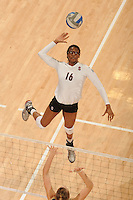 Stanford, CA - OCTOBER 31:  Middle blocker Foluke Akinradewo #16 of the Stanford Cardinal during Stanford's 25-22, 25-23, 25-18 win against the Washington Huskies on October 31, 2008 at Maples Pavilion in Stanford, California.