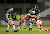 29th September 2017, AJ Bell Stadium, Salford, England; Aviva Premiership Rugby, Sale Sharks versus Gloucester; Sale Sharks' Josh Strauss is tackled