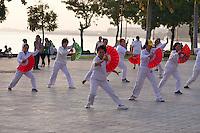 Phnom Penh, Cambodia. Morning sports along Preah Sisowath Quay. Tai Chi.