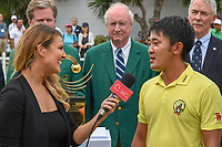 Takumi KANAYA (JPN) is interviewed by golf analyst, Amanda Balionis after winning the Asia-Pacific Amateur Championship, Sentosa Golf Club, Singapore. 10/7/2018.<br /> Picture: Golffile | Ken Murray<br /> <br /> <br /> All photo usage must carry mandatory copyright credit (&copy; Golffile | Ken Murray)