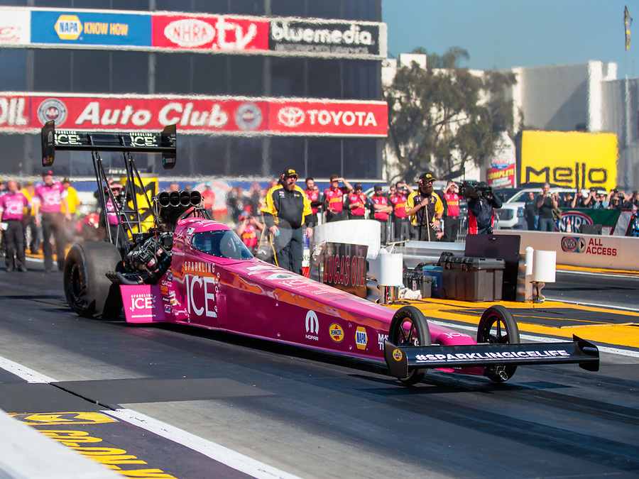 Feb 8, 2019; Pomona, CA, USA; NHRA top fuel driver Leah Pritchett during qualifying for the Winternationals at Auto Club Raceway at Pomona. Mandatory Credit: Mark J. Rebilas-USA TODAY Sports