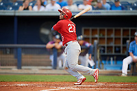Palm Beach Cardinals catcher Jose Godoy (27) follows through on a swing during a game against the Charlotte Stone Crabs on April 21, 2018 at Charlotte Sports Park in Port Charlotte, Florida.  Charlotte defeated Palm Beach 5-2.  (Mike Janes/Four Seam Images)