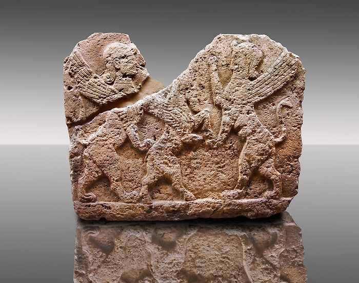 Picture of a Neo-Hittite orthostat describing the legend of Gilgamesh from Karkamis, Turkey. Museum of Anatolian Civilisations, Ankara. Mythological Scene of 2 Spinxes standing on their back legs either side of a winged horse which is also standing on its rear legs. 3