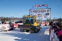 Willow Trail Commmittee members groom the start chute just prior to the Restart of the 2016 Iditarod in Willow, Alaska.  March 06, 2016.