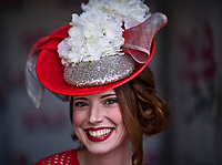 LOUISVILLE, KENTUCKY - May 02: A model shows of a fashionable hat during Kentucky Derby and Oaks preparations at Churchill Downs on April 30, 2017 in Louisville, Kentucky. (Photo by Scott Serio/Eclipse Sportswire/Getty Images)