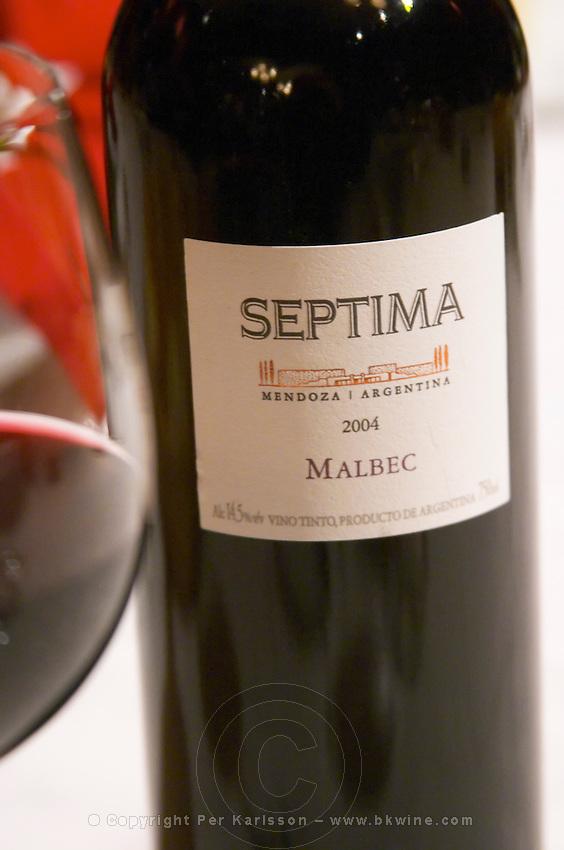 Bottle of Septima Mendoza 2004 Malbec from Codorniu Mendoza and a glass of wine. The Oviedo Restaurant, Buenos Aires Argentina, South America