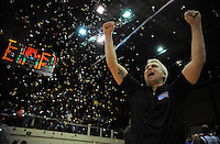 Saints coach Shane Heal celebrates winning the national basketball league final between Wellington Saints and Bay Hawks at TSB Bank Arena, Wellington, New Zealand on Saturday, 5 July 2014. Photo: Dave Lintott / lintottphoto.co.nz