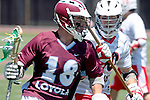 Orange, CA 05/01/10 - Greg Sharron (LMU # 18) and Matt Walrath (Chapman # 50) in action during the LMU-Chapman MCLA SLC semi-final game in Wilson Field at Chapman University.  Chapman advanced to the final by defeating LMU 19-10.