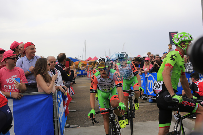 Bardiani CSF at sign on before Stage 2 of the 100th edition of the Giro d'Italia 2017, running 221km from Olbia to Tortoli, Sardinia, Italy. 6th May 2017.<br /> Picture: Ann Clarke | Cyclefile<br /> <br /> <br /> All photos usage must carry mandatory copyright credit (&copy; Cyclefile | Ann Clarke)