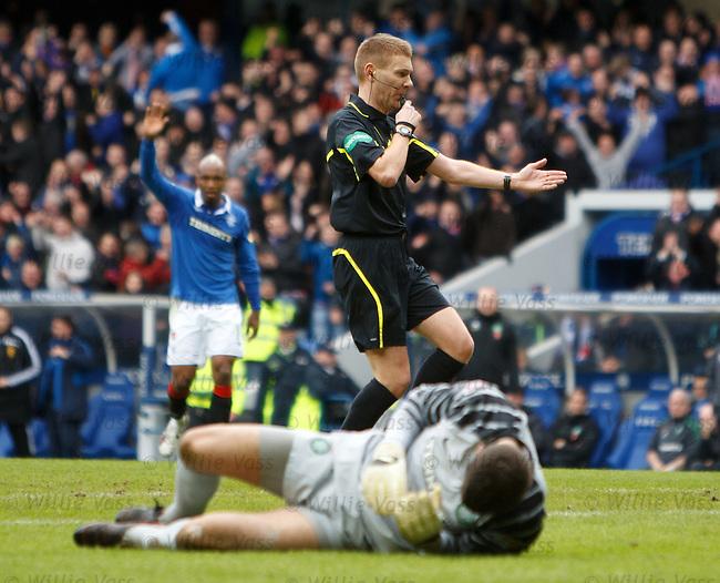 Referee Calum Murray has no hesitation in awarding a penalty kick to Rangers