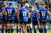 Freddie Burns of Bath Rugby speaks to his team-mates during a break in play. Heineken Champions Cup match, between Wasps and Bath Rugby on October 20, 2018 at the Ricoh Arena in Coventry, England. Photo by: Patrick Khachfe / Onside Images