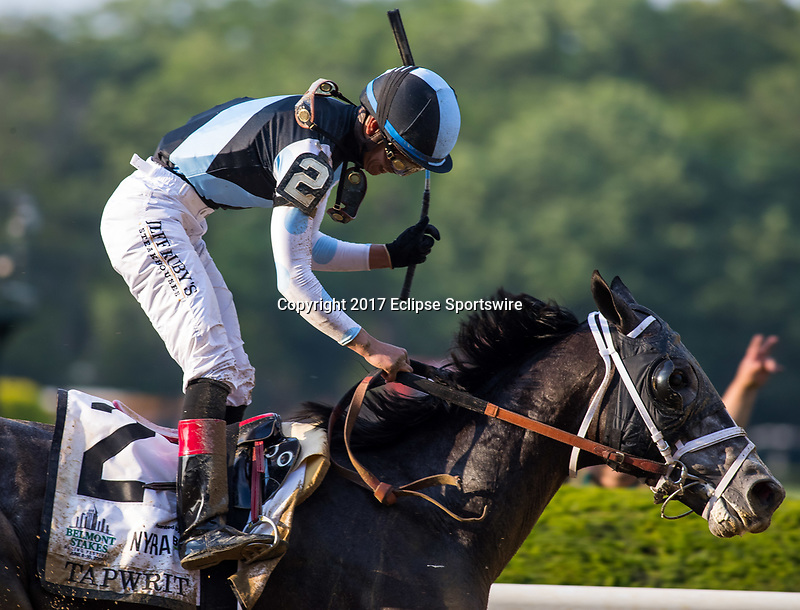 ELMONT, NY - JUNE 10: Jose Ortiz, aboard Tapwrit #2, smiles after winning the 149th Belmont Stakes on Belmont Stakes Day at Belmont Park on June 10, 2017 in Elmont, New York (Photo by Jesse Caris/Eclipse Sportswire/Getty Images)