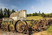 Dahmen Barn and wagon wheel fence near Uniontown, WA.  Palouse region of eastern Washington.