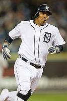 Detroit Tigers' Carlos Guillen (9) hustles around third base versus the Los Angeles Angels at Comerica Park in Detroit, MI, Sunday, April 27, 2008.
