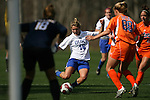 Duke's Elisabeth Redmond (16) tries to find a way past Florida's Shelley Lyle (88) and Katie Fraine (18) on Saturday, March 3rd, 2007 on Field 1 at SAS Soccer Park in Cary, North Carolina. The University of Florida Gators played the Duke University Blue Devils in an NCAA Division I Women's Soccer spring game.