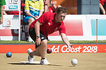 Wales Daniel Salmon in action during the semi-final of the the Mens Pairs <br /> <br /> *This image must be credited to Ian Cook Sportingwales and can only be used in conjunction with this event only*<br /> <br /> 21st Commonwealth Games - Bowls -  Day 4 - 08\04\2018 - Boardbeach Bowls Club - Gold Coast City - Australia