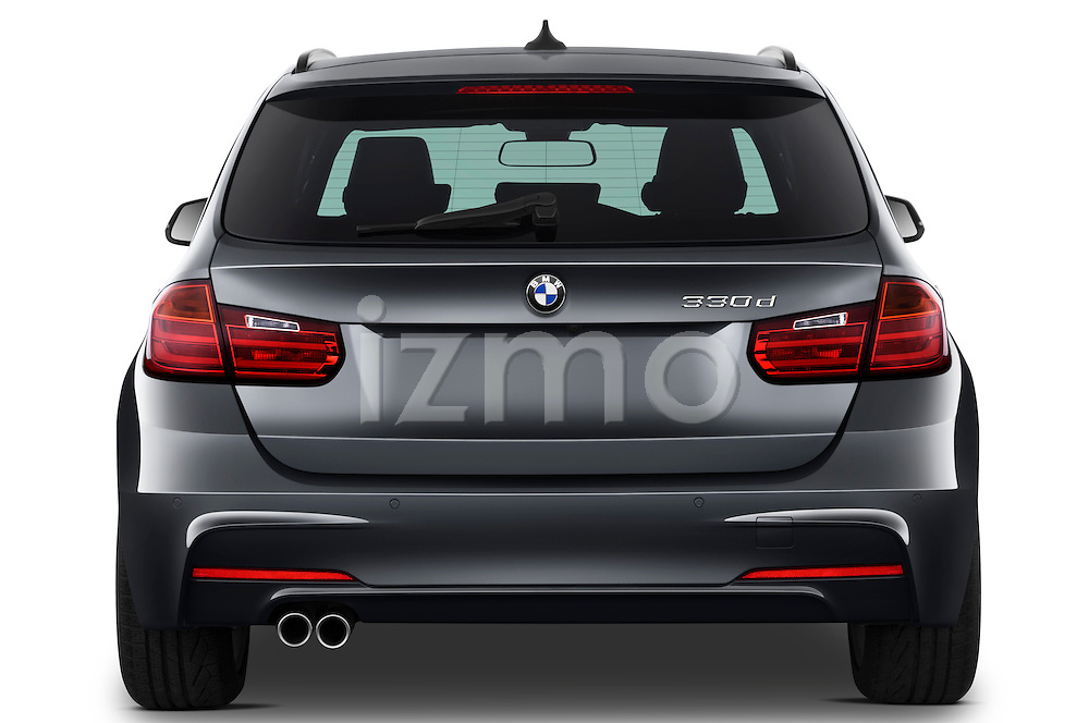 Straight rear view of a 2013 BMW 330d Touring Wagon
