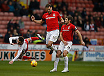 Stefan Scougill of Sheffield Utd is fouled by Ben Turner and Sam Ricketts of Coventry City  - English League One - Sheffield Utd vs Coventry City - Bramall Lane Stadium - Sheffield - England - 13th December 2015 - Pic Simon Bellis/Sportimage-