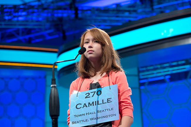 Speller 270 Camille Georgeanne Murphy competes in the preliminary rounds of the Scripps National Spelling Bee at the Gaylord National Resort and Convention Center in National Habor, Md., on Wednesday,  May 30, 2012. Photo by Bill Clark