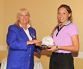 Dawn Butchart, Development Director, Scottish Ladies Golfing Association presents Alexandra Duffy with The Paul Lawrie Foundation Salver: The Paul Lawrie Foundation Scottish Schools Golf Championships played at Murrayshall House Hotel and Golf Courses on 10th June 2013: Picture Stuart Adams www.golftourimages.com: 10th June 2013