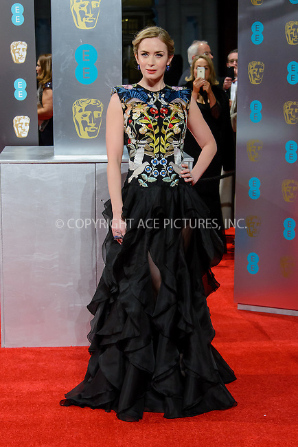 www.acepixs.com<br /> <br /> February 12 2017, London<br /> <br /> Emily Blunt arriving at the 70th EE British Academy Film Awards (BAFTA) at the Royal Albert Hall on February 12, 2017 in London, England<br /> <br /> By Line: Famous/ACE Pictures<br /> <br /> <br /> ACE Pictures Inc<br /> Tel: 6467670430<br /> Email: info@acepixs.com<br /> www.acepixs.com