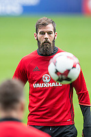 Joe Ledley during Wales training ahead of the World Cup 2018 qualification match against Moldova at Cardiff City Stadium, Cardiff, Wales on 4 September 2016. Photo by Mark  Hawkins / PRiME Media Images.