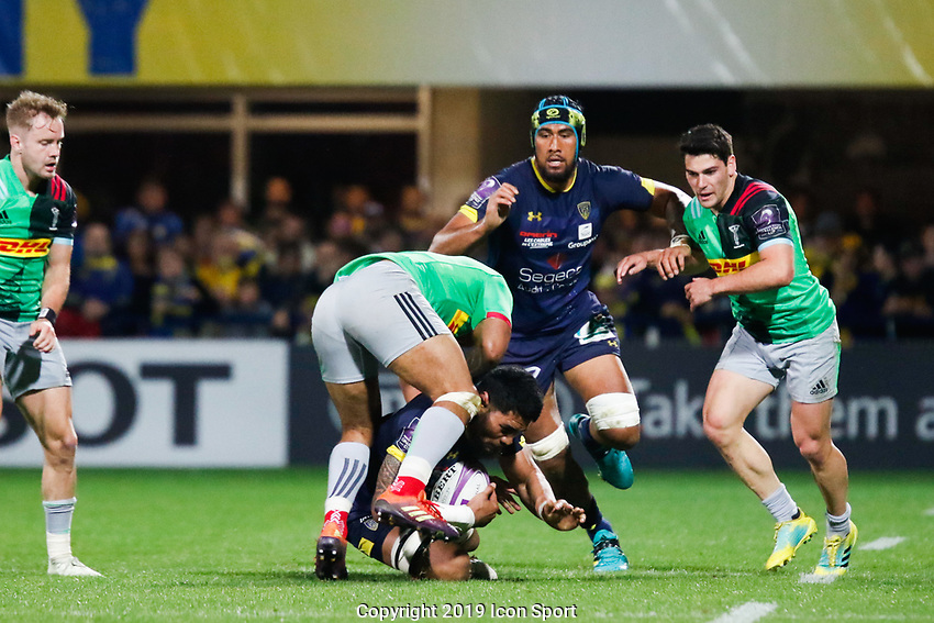 Sitaleki Timani of Clermont and Francis Saili of Harlequins during the Challenge Cup semi final match between ASM Clermont and Harlequins on April 20, 2019 in Clermont-Ferrand, France. (Photo by Romain Biard/Icon Sport)