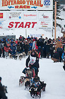 Ken Anderson team leaves the start line during the restart day of Iditarod 2009 in Willow, Alaska