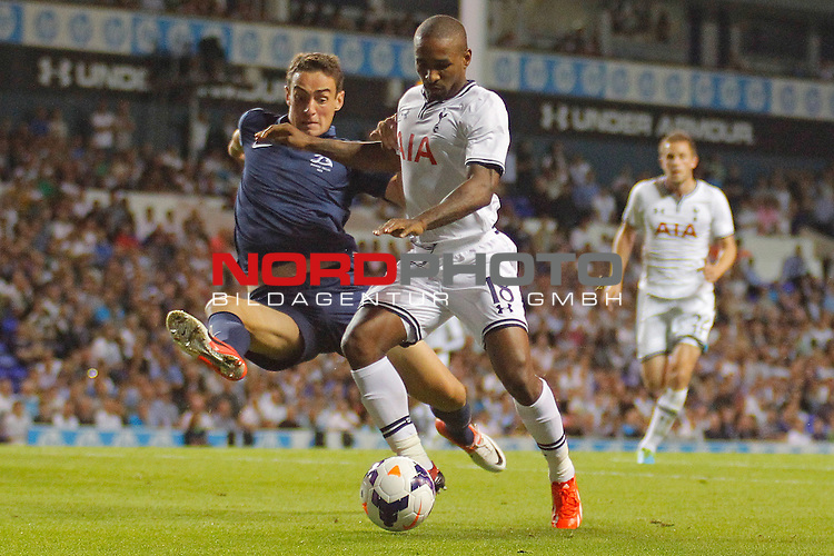 LONDON, ENGLAND - August 29: Dinamo Tbilisi's Giorgi Gvelesiani and Tottenham's Jermain Defoe compete for the ball during the UEFA Europa League Qualification round match between Tottenham Hotspur from England and Dynamo Tiblisi played at The White Hart Lane Stadium, on August 29, 2013 in London, England. <br /> Foto nph / Gunn