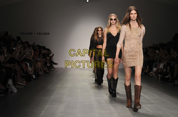LONDON, ENGLAND - SEPTEMBER 12: models on the runway @ the Felder Felder S/S15 catwalk show, LFW Day 1, BFC Showspace, Somerset House  the Strand, on Friday September 12, 2014 in London, England, UK. <br /> CAP/CAN<br /> &copy;Can Nguyen/Capital Pictures