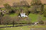 White detached farmhouse, Boredale valley, Martindale, Lake District national park, Cumbria, England, UK