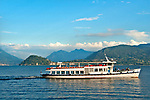 A ferry boat on Lake Como, Italy with Bellagio in the background