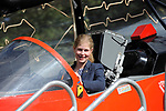 Stamford, Lincolnshire, United Kingdom, 8th September 2019,  Lady Louise Windsor sits in the cockpit of a Red Arrow jet whilst visiting the John Egging Trust stand at the 2019 Land Rover Burghley Horse Trials, Credit: Jonathan Clarke/JPC Images