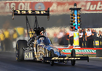 Feb. 14, 2013; Pomona, CA, USA; NHRA top fuel dragster driver Khalid Albalooshi during qualifying for the Winternationals at Auto Club Raceway at Pomona.. Mandatory Credit: Mark J. Rebilas-