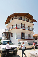 The house where the Cobos live, three story white house typical of the Berat region. Cobo winery, Poshnje, Berat. Albania, Balkan, Europe.