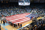 11 November 2013: A large American flag covered the court during the national anthem as part of honoring Veteran's Day. The University of North Carolina Tar Heels played the University of Tennessee Lady Vols in an NCAA Division I women's basketball game at Carmichael Arena in Chapel Hill, North Carolina. Tennessee won the game 81-65.