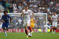John Lundstram of Sheffield United on the ball during the Premier League match between Chelsea and Sheff United at Stamford Bridge, London, England on 31 August 2019. Photo by Carlton Myrie / PRiME Media Images.