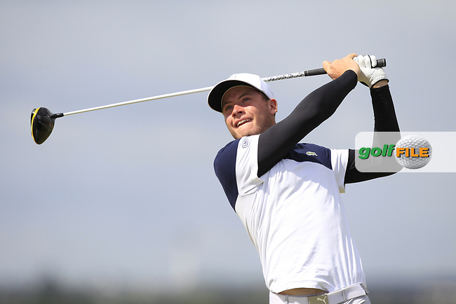 Aymeric Laussot (FRA) on the 5th tee during Round 1 of the The Amateur Championship 2019 at The Island Golf Club, Co. Dublin on Monday 17th June 2019.<br /> Picture:  Thos Caffrey / Golffile<br /> <br /> All photo usage must carry mandatory copyright credit (© Golffile | Thos Caffrey)